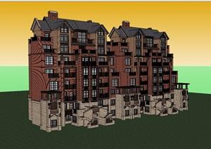 欧式风格详细的经典完整洋房住宅楼SU(草图大师)模型