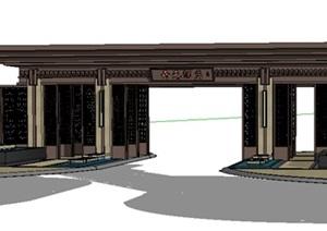 主入口门楼2SU(草图大师) CAD模型丰富详细,材质贴图清晰,具有很高的学习参考价值,值得下载
