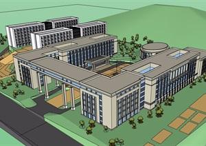 現代風格詳細的多棟學校教育建筑樓設計SU(草圖大師)模型