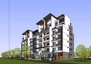 现代风格六层居住详细的小区建筑楼设计SU(草图大师)模型