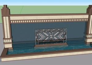 某水池景墻素材設計SU(草圖大師)模型