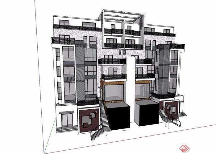 双拼现代风格详细的完整别墅v双拼su模型西岗区海寰别墅图片