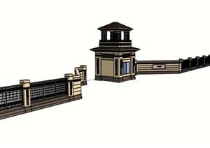 歐式風格詳細的完整圍墻大門SU(草圖大師)模型