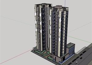 居住高层详细的完整小区楼设计SU(草图大师)模型