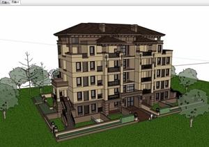 欧式风格详细的多层洋房住宅楼设计SU(草图大师)模型