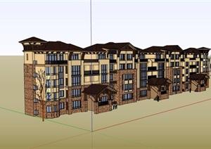 欧式风格多层居住小区楼设计SU(草图大师)模型