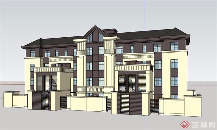 新古典风格详细的精致完整别墅设计su模型