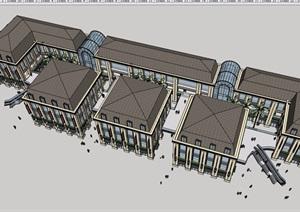 歐式風格詳細的多層商業樓建筑SU(草圖大師)模型