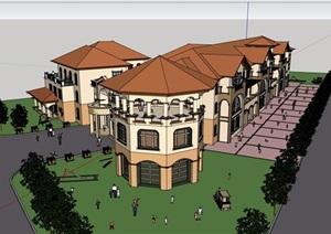 歐式風格詳細的多層商務會所建筑SU(草圖大師)模型