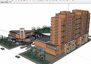 现代多层详细完整的居住建筑楼设计SU(草图大师)模型