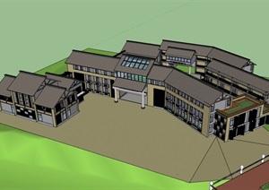 中式風格詳細的完整多層學校建筑SU(草圖大師)模型