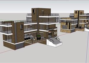 现代风格详细的多层餐饮建筑楼设计SU(草图大师)模型
