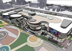 現代風格詳細的完整商業中心多層建筑SU(草圖大師)模型