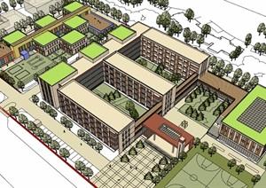現代風格詳細的完整多層學校教育建筑樓SU(草圖大師)模型