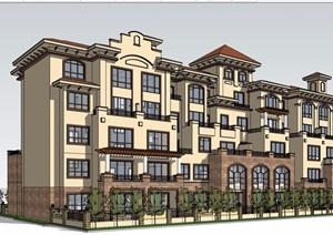 详细的完整多层居住楼建筑设计SU(草图大师)模型
