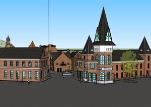 英式風格詳細的多層商業街多層建筑SU(草圖大師)模型