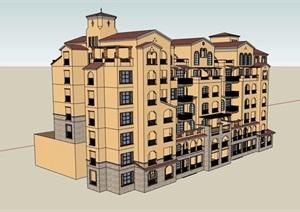 西班牙风格详细多层居住楼建筑设计SU(草图大师)模型