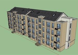 欧式风格详细的多层居住楼设计SU(草图大师)模型