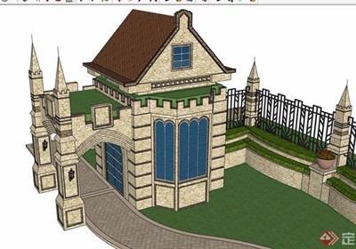 歐式風格詳細的完整圍墻大門素材設計su模型