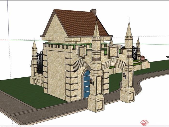 欧式风格详细的完整围墙大门素材设计su模型
