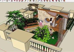 现代风格屋顶庭院素材设计SU(草图大师)模型