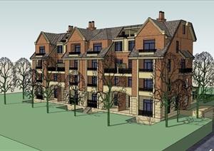 英式风格详细的多层居住楼设计SU(草图大师)模型