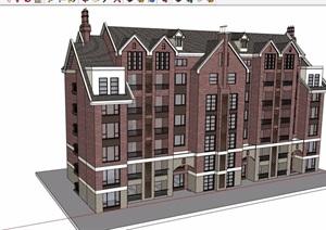 英式风格详细的多层洋房居住楼设计SU(草图大师)模型