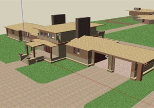 歐式風格詳細的經典完整別墅設計SU(草圖大師)模型