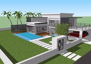 現代風格詳細的完整多層別墅建筑設計SU(草圖大師)模型