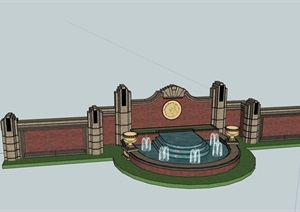 歐式風格詳細的完整水池景墻素材設計SU(草圖大師)模型