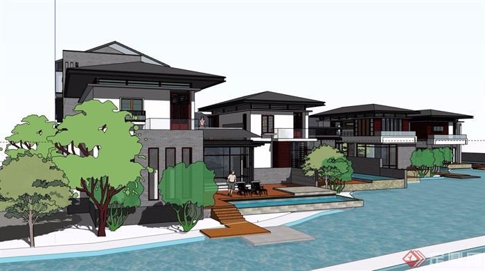 中式风格详细的经典完整别墅设计su模型