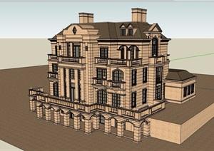 歐式風格詳細的私人完整住宅別墅設計SU(草圖大師)模型