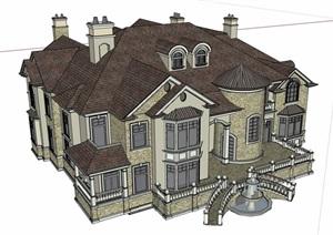 歐式風格詳細的私人大型住宅別墅SU(草圖大師)模型