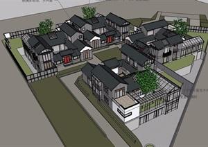 中式風格詳細的經典完整別墅設計SU(草圖大師)模型