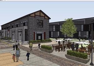 中式風格詳細的完整商業中心建筑設計SU(草圖大師)模型