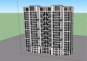 中式风格详细的高层居住小区建筑楼SU(草图大师)模型