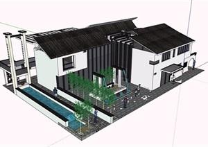 中式風格詳細的完整售樓處建筑SU(草圖大師)模型