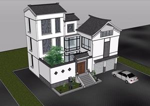 三层中式风格详细的完整别墅设计SU(草图大师)模型