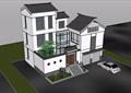 三層中式風格詳細的完整別墅設計su模型