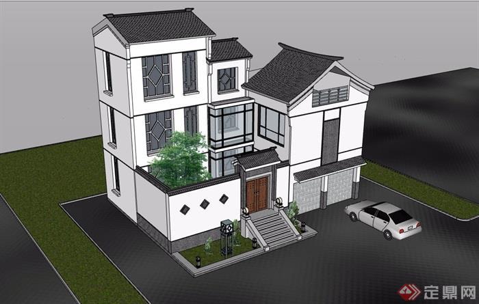 三层中式风格详细的完整别墅设计su模型