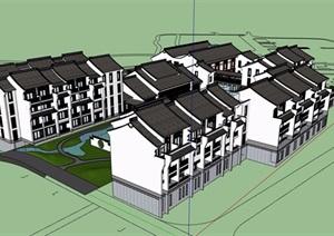 中式风格详细的大型会所建筑设计SU(草图大师)模型