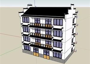 四层中式民居住宅楼设计SU(草图大师)模型