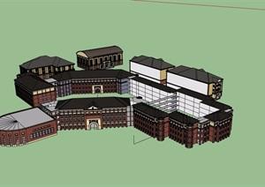 欧式风格详细的多层学校教育建筑楼设计SU(草图大师)模型