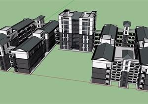 中式風格詳細的完整多層教育建筑樓設計SU(草圖大師)模型
