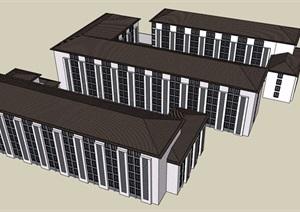 某详细的完整多层宿舍楼建筑设计SU(草图大师)模型
