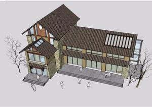 中式风格详细的餐饮建筑楼设计SU(草图大师)模型