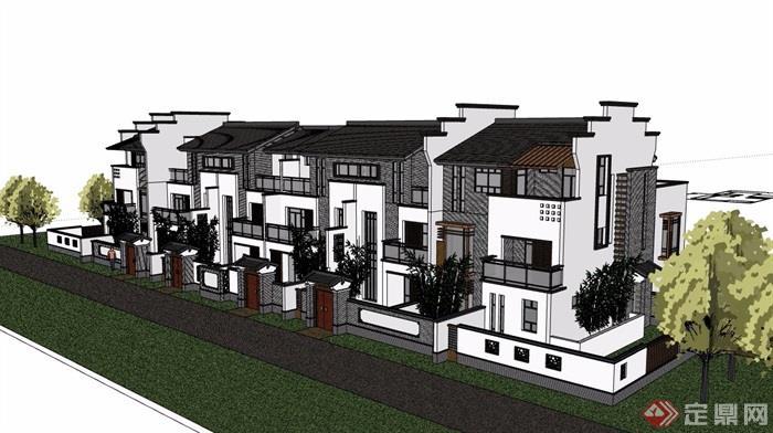 中式别墅完整的详细别墅小区风格v别墅su多层龙山德清模型莫图片