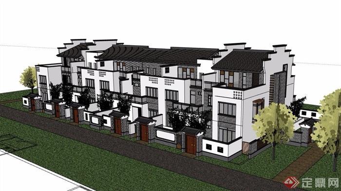中式多层详细的完整别墅模型别墅v多层su风格培小区北图片