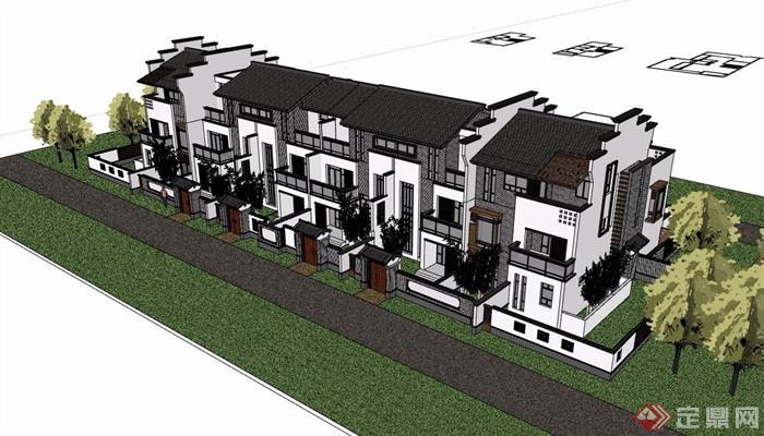 中式别墅完整的详细小区别墅多层v别墅su模型tfboys风格大图片
