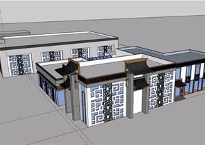 中式风格详细的单层餐饮建筑设计SU(草图大师)模型
